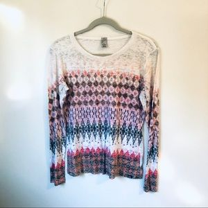 Prana Long Sleeved Tee White and Pink M
